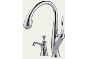 Brizo 63352-PC Belo Chrome Kitchen Pull Down Faucet with Soap Dispenser