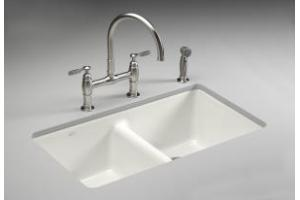 Kohler Anthem K-5840-5U-0 White Cast Iron Undercounter Sink with Five-Hole Faucet Drilling