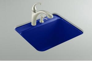 Kohler Glen Falls K-6663-1U-30 Iron Cobalt Undercounter Utility Sink with One-Hole Faucet Drilling