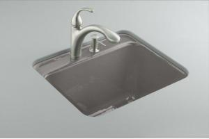 Kohler Glen Falls K-6663-1U-58 Thunder Grey Undercounter Utility Sink with One-Hole Faucet Drilling