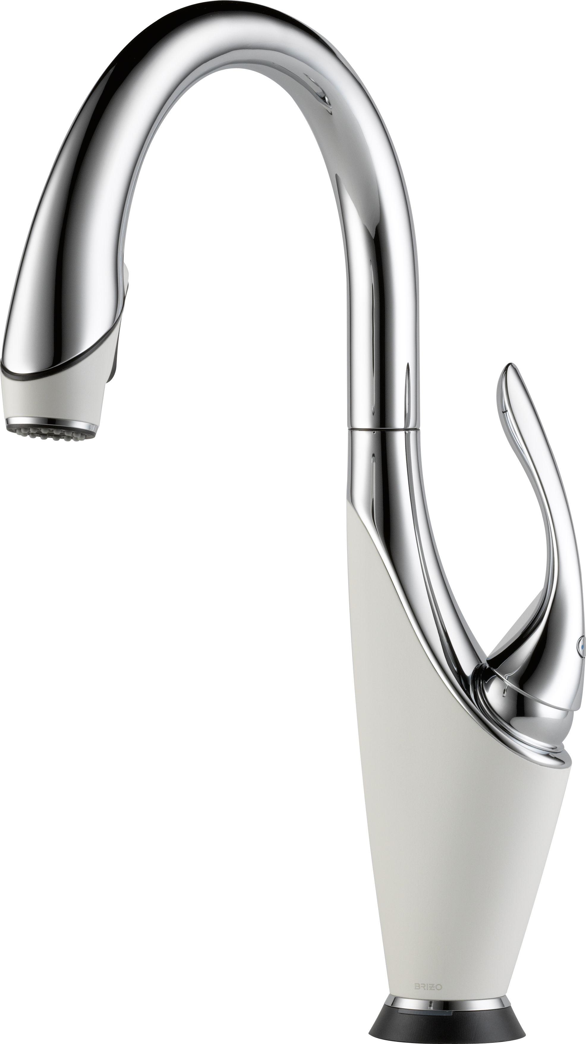 brizo 64355lfpcmw vuelo polished chrome and matte white single handle pulldown kitchen - Brizo Faucets
