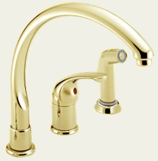 delta waterfall 172pbwf brillance polished brass lever handle kitchen faucet with side spray