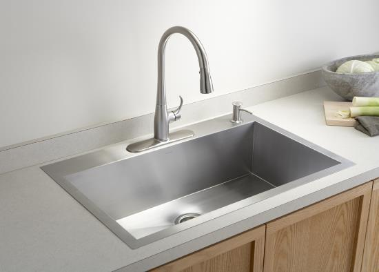 Kohler K 3821 3 Vault Large Single Kitchen Sink With Three Hole Faucet