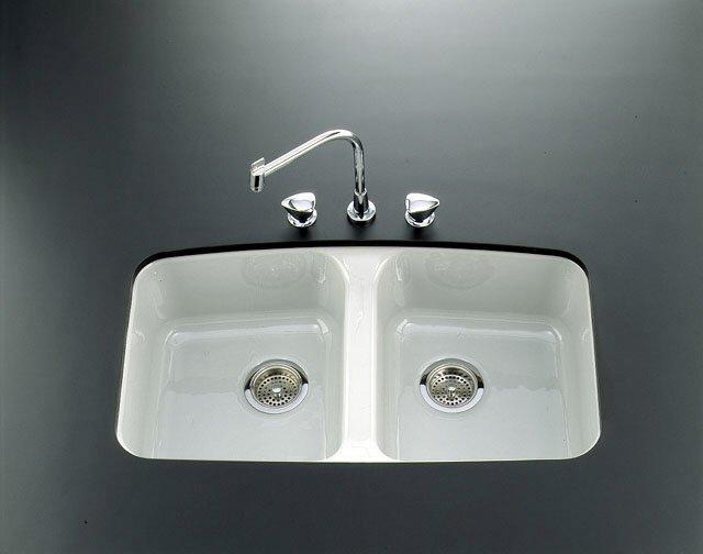 Kohler Brookfield K-5942-5U-0 White Undercounter Kitchen Sink with ...