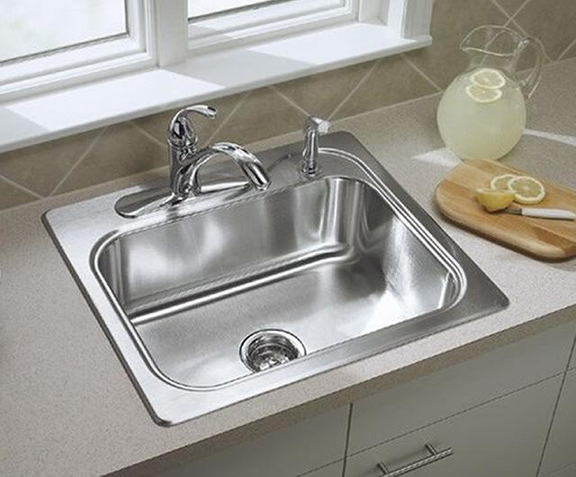 Sterling F11403-4 Southhaven Stainless Steel Self-Rimming Single-Basin  Kitchen Sink with Four-hole Faucet Punching