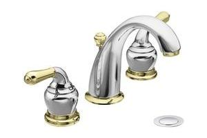 Moen Monticello CAT4572CP Chrome/Polished Brass Two-Handle High Arc ...